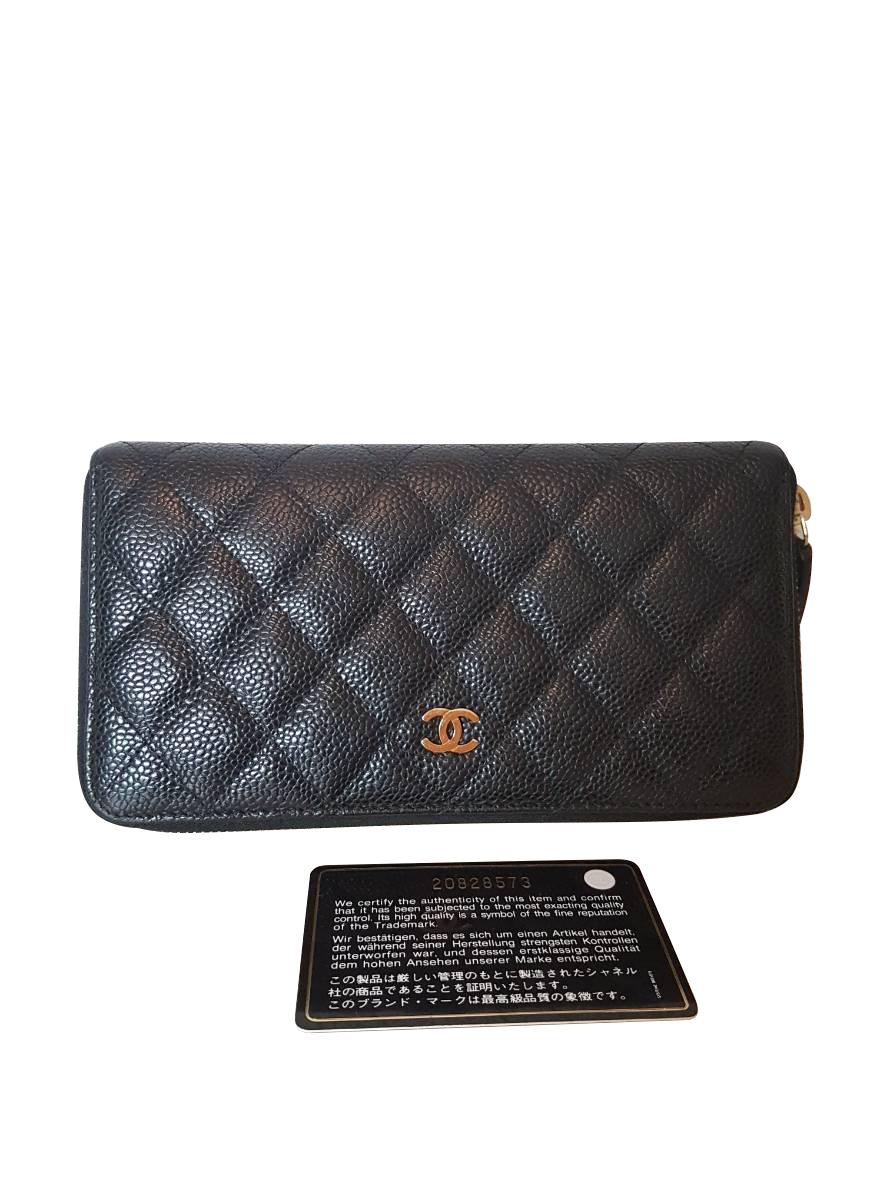 0a323d8ed690 Chanel Black Caviar Leather Zippy Wallet