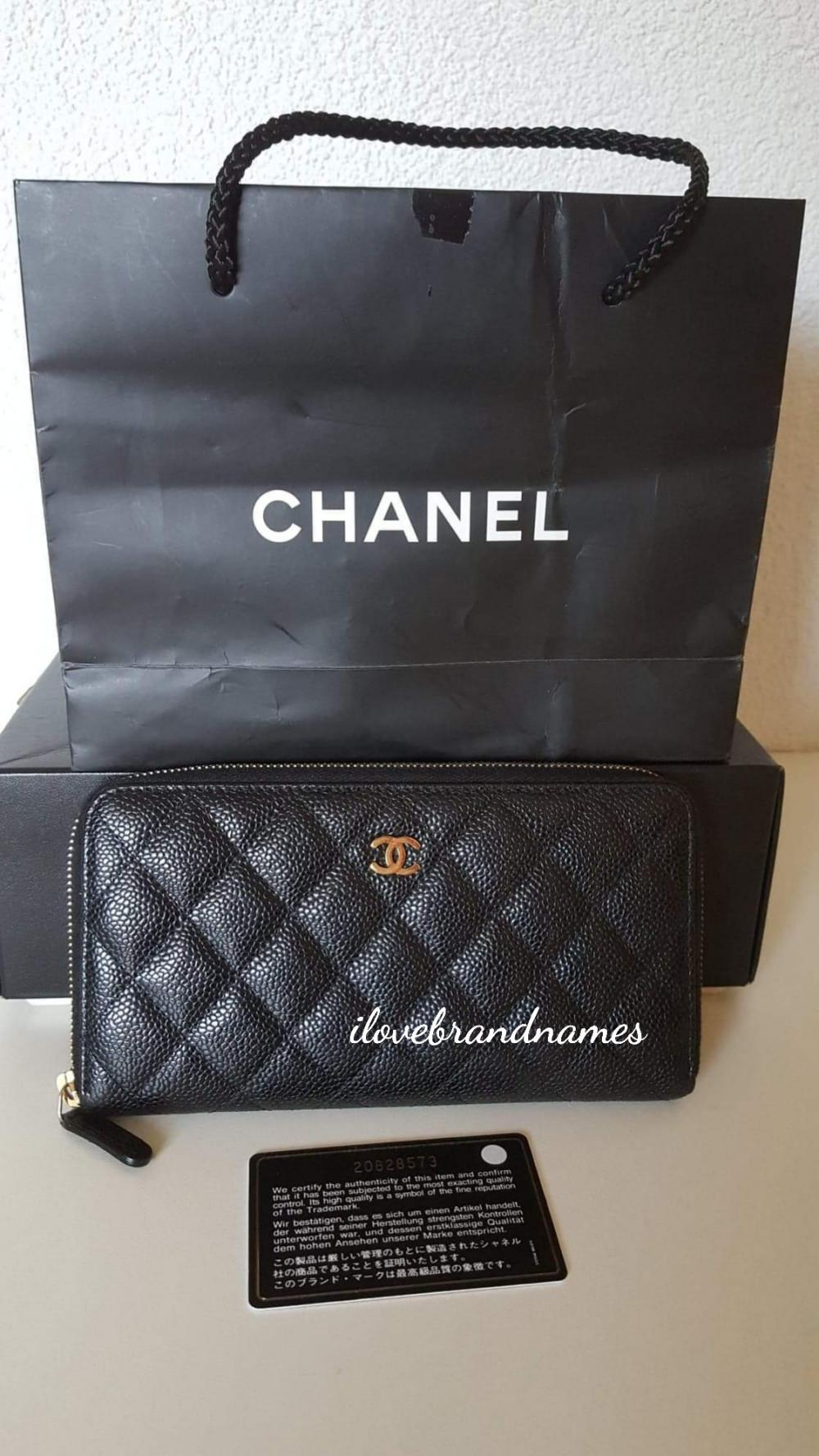 400ab0b9eaec Chanel Black Caviar Leather Zippy Wallet | I Love Brand Names