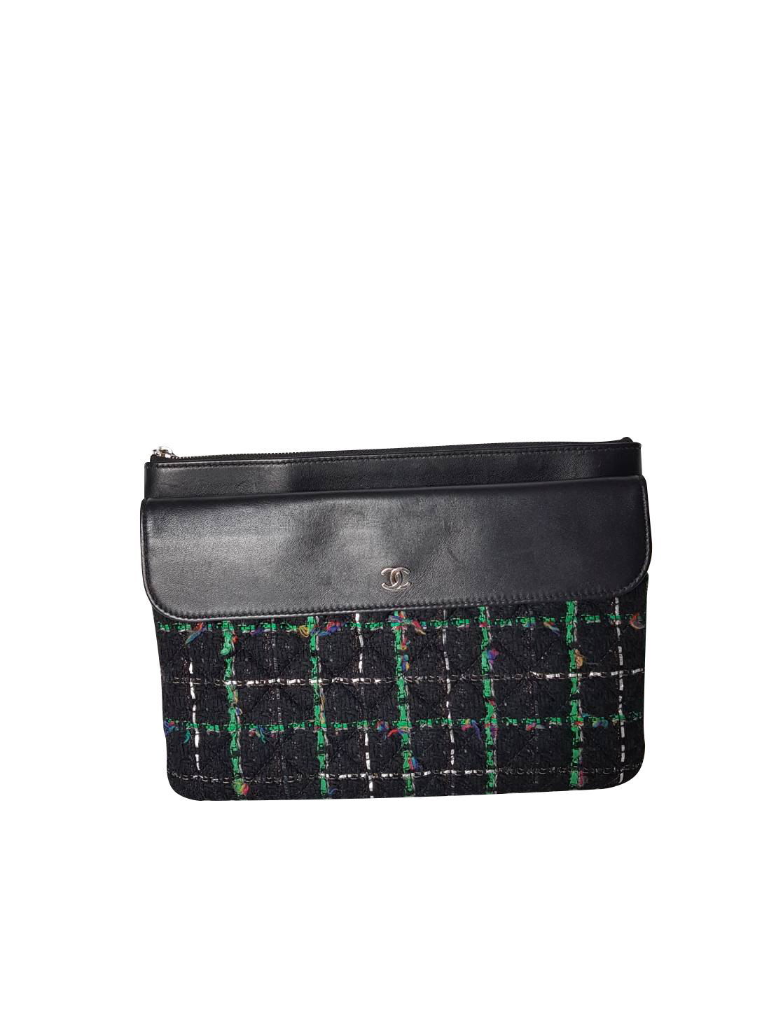 140dcd91b9b8c Chanel quilted black lambskin leather and green tweed